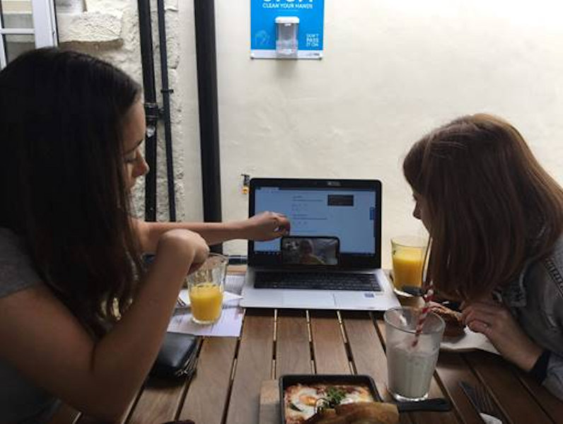 Beth and Maisie from Fresh Perspective work on socially distanced plans_no credit